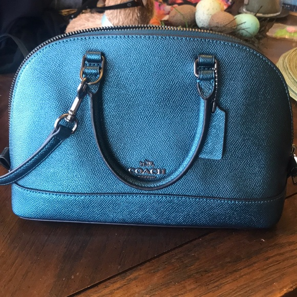 0bdd6e2fb71c8 Coach Bags | Metallic Blue Crossbody Bag | Poshmark